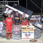 The top 3 finishers in the woo feature: (l to r) #97 Dean Jacobs (3rd), #14 Dale Blaney (1st) and #09 Craig Mintz (2nd). - Action Photo