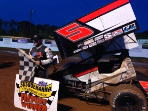Justin Barger in victory lane at Susquehanna Speedway Park. - Angel Taber Photo