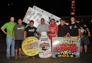 After picking up his 13th feature win of 2014, Christopher Bell and the All Pro No. 31b Sprint Car team celebrate ASCS Speedweek victory lane at Creek County Speedway near Tulsa, OK, on Thursday night. - TWC Photo