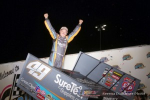 Brad Sweet celebrates his victory Saturday at Knoxville Raceway with the World of Outlaws STP Sprint Car Series. - Serena Dalhamer Photo