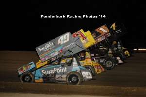 Parade lap at I-96 Speedway with the World of Outlaws STP Sprint Car Series at I-96 Speedway. - Mark Funderburk Photo