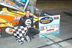 Jimmy McCune after his MSRXSS victory Saturday night at Auto City Speedway in Clio, MI. David Sink Photo
