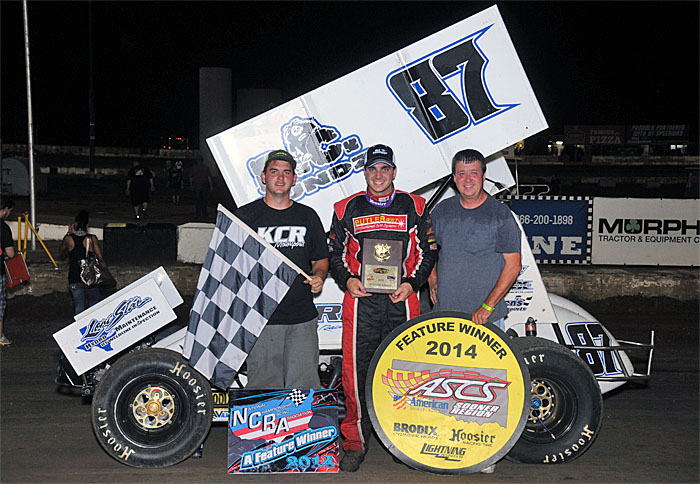 Clute, TX, racer Aaron Reutzel picked off his sixth overall feature win of the year by wiring the field in Sunday night's 30-lap NCRA vs. ASCS Sooner Region feature event at 81 Speedway in Wichita, KS.  (TWC Photo)