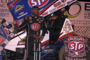 Donny Schatz in victory lane at I-96 Speedway. - T.J. Buffenbarger Photo