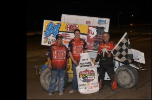 Jeff Swindell lead non-stop at the Billings Motorsports Park for his second Lucas Oil ASCS National victory of 2014. (ASCS / Herrig Photo)