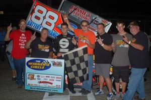 Jimmy McCune and crew celebrate their Must See Racing Xtreme Sprint Series win Saturday night at Kalamazoo Speedway. R & S Racing Photo