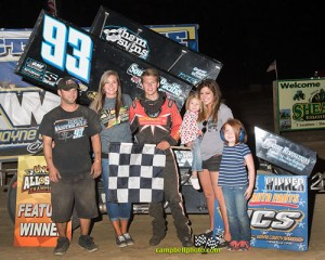 Sheldon Haudenschild after winning his first career UNOH All Star Circuit of Champions feature Saturday night at Wayne County Speedway. - Mike Campbell Photo