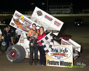 Max Stambaugh in victory lane at Limaland Motorsports Park. - Mike Campbell Photo