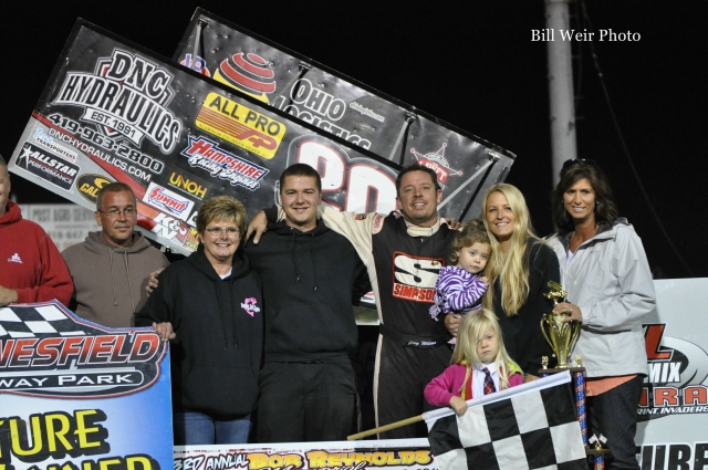 Greg Wilson with this family and crew after winning the SOD/NRA portion of the Bob Reynolds Memorial Race  at Waynesfield Raceway Park. - Bill Weir Photo