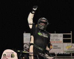 Matt Westfall after winning Saturday night's BOSS feature at Waynesfield Raceway Park. - Bill Weir Photo
