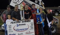 Terry McCarl won at the Cedar County Raceway in Tipton, Iowa on Friday, July 11.  The win aboard the Jimmy Davies #99 marked the 62nd track that the Altoona, Iowa driver has won in his career.
