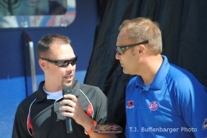 Dustin Jarrett interviewing Donny Schatz during the Knoxville Car unveiling at Eldora Speedway. - T.J. Buffenbarger Photo