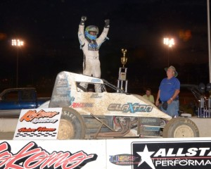 Justin Grant celebrates his victory at Kokomo Speedway on Thursday. - Bill Miller Photo