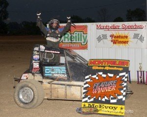 Justin Peck celebrates in Victory Lane at the Montpelier Motor Speedway. - Bill Miller Photo