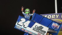 Rico Abreu won the Midwest Open Wheel Association Speedweek feature at Tri-City Speedway.