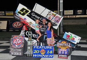 Daryn Pittman completed a sweep of the World of Outlaws Boothill Showdown at Dodge City Raceway Park by winning Saturday night's 30-lap feature at Dodge City Raceway Park.  (TWC Photo)