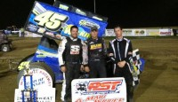 Chuck Hebing won the Patriot Sprint Tour feature Saturday night at Woodhull Raceway.