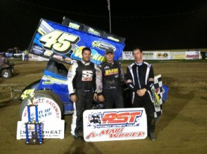 (l to r) Third place Justin Barger, winner Chuck Hebing, and second place Steve Collins after Saturday night's Patriot Sprint Tour event at Woodhull Raceway. - Image courtesy off the Patriot Sprint Tour