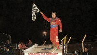 For the third time in 2014, Jeff Swindell stood triumphant with the Lucas Oil American Sprint Car Series presented by MAVTV American Real. Winning in what could be called the Tennessee veteran's back yard, Swindell topped action at the Lexington 104 Speedway for his fourteenth overall National Tour win.