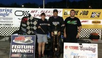 Steve Irwin picks up second win of the 2014 season Sunday at Mt Pleasant Speedway over pole sitter Joe Bares. Cooper Clouse finished 3rd.