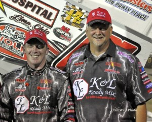 J R Stewart with his Sprint Car Owner Ron Hammons after winning the Limaland Motorsports Park Sprint Car Track Championship for 2014. - Bill Weir Photo
