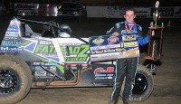 """Brady Bacon picked up the win at Creek County Speedway near Sapulpa, Oklahoma on Saturday in USAC Southwest """"Freedom Tour"""" action."""