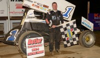 Chad Blonde tunes up for this upcoming UNOH All Star Circuit of Champions program at Butler Motor Speedway by winning the main event...