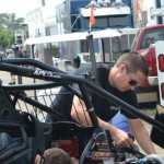 Jason Meyers leading an engine change for his car on Friday at Knoxville Raceway. - Bob Buffenbarger Photo