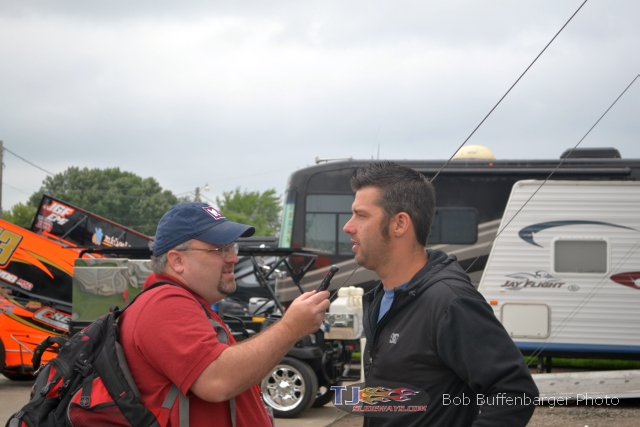 T.J. interviewing Bud Kaeding for the podcast. - Bob Buffenbarger Photo