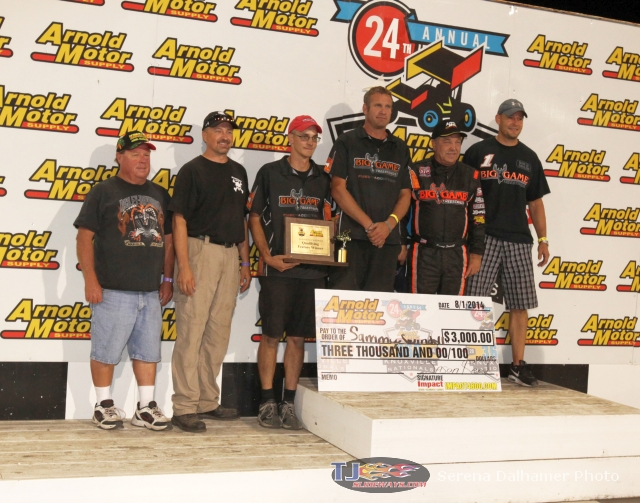 Sammy Swindell and team in victory lane following Friday's victory at Knoxville Raceway.  (Serena Dalhamer photo)