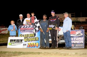 Scotty Weir with his team in victory lane on Saturday night at Waynesfield Raceway Park. - Jan Dunlap Photo
