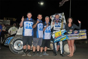 """Mike Martin reached victory lane in Round Three of the USAC Southwest Sprint Cars """"Freedom Tour"""" at 81 Speedway in Wichita, KS, on Friday night. (TWC Photo)"""