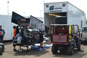 Ryan Bunton's car being serviced on Friday at Knoxville. - Bob Buffenbarger Photo