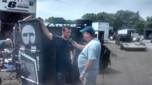 T.J. talking with Ryan Bunton on Friday at Knoxville Raceway. - Bob Buffenbarger Photo