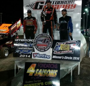 Steve Poirier, Jason Barney, and Paul Kinney on the podium after Friday's ESS event at Autodrome Granby. - ESS Photo