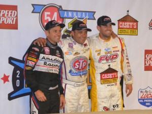 Third place Kerry Madsen, winner Donny Schatz, and second place Brian Brown. - Bob Buffenbarger Photo