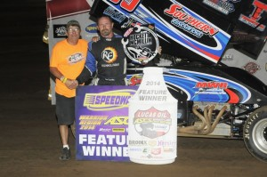 Tim Crawley picked up his first Lucas Oil ASCS National Tour win of 2014, taking top honors on Night 1 of the Hockett/McMillin Memorial. (ASCS / Rock Kocak)