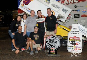 Derek Hagar captured the win in the fourth annual Hockett/McMillin Memorial at the Lucas Oil Speedway. (ASCS / Joe Orth)