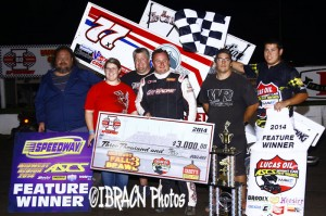 Wayne Johnson started the weekend off right by winngin the Fall Brawl 3 at I-80 Speedway on Friday night.  If Johnson wins tomorrow, he get the $50,000 bonus.  - Brad Brown Photo