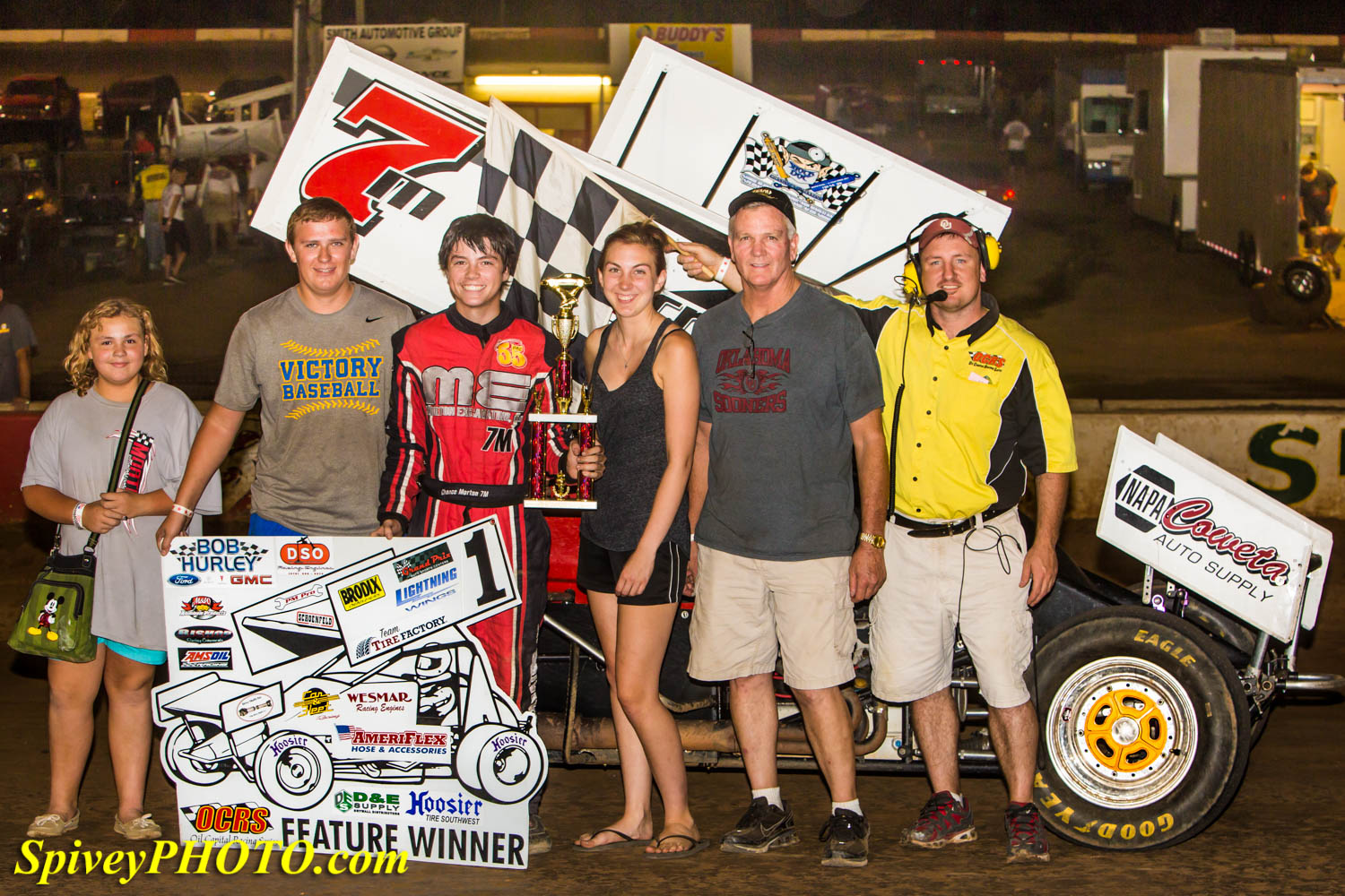Chance Morton visits victory lane for the second time in 2014. - Mike Spivey Photo