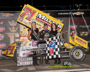 Joey Saldana in victory lane at Eldora Speedway. - Mike Campbell Photo