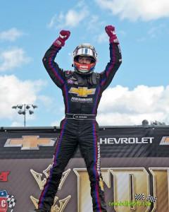 Bryan Clauson after winning the USAC Honda National Midget Car Series feature at Eldora Speedway. - Mike Campbell Photo