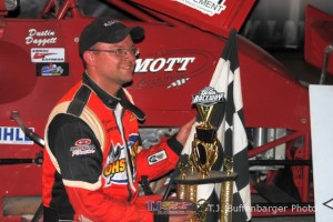 Dustin Daggett in victory lane.  - T.J. Buffenbarger Photo