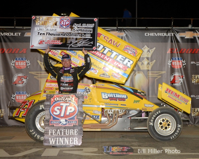 Joey Saldana led all 30 laps to win the WoO sprint cat feature event at the Eldora Speedway. - Bill Miller Photo