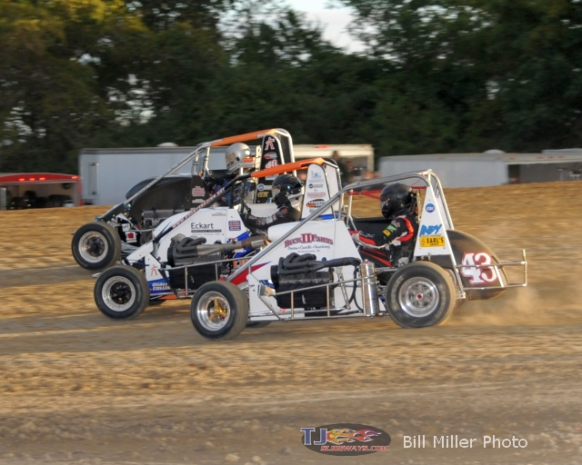 More three wide action with #43 Logan Arnold, #17 Michael Koontz and the second Koontz entry. - Bill Miller Photo