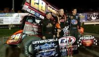 Steve Poirier won the Lucas Oil Empire Super Sprints feature Friday night at Fonda Speedway.
