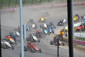 Start of the sprint car feature on Sunday afternoon at Eldora Speedway. - Bob Buffenbarger Photo