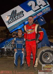 Rico Abreu (l) with 2014 Engine Pro Sprints on Dirt champion Dustin Daggett (r) Saturday at Plymouth Speedway. - Jennifer Peterson Photo