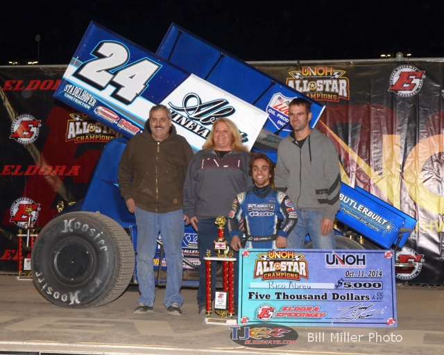 Rico Abreu celebrates in Victory Lane with family and crew after winning the 30 lap All Star Circuit of Champions feature event. - Bill Miller Photo