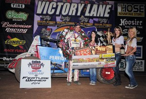 Bryan Clauson in victory lane on Saturday night at Canyon Speedway Park. - TWC Photo